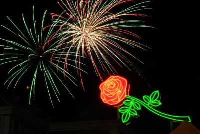 Rose with fireworks